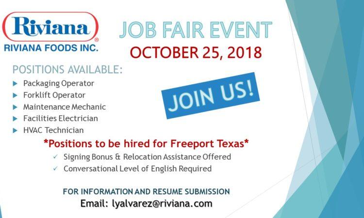 Riviana Foods, Inc. Job Fair Event - October 25, 2018