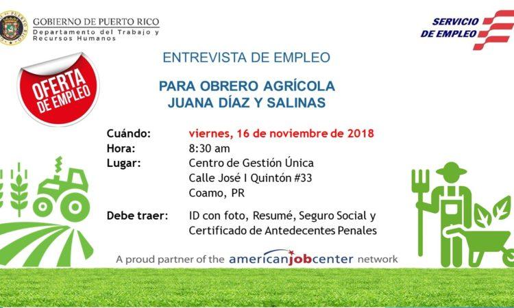 Entrevistas de Empleo Para Obrero Agrícola Juana Días y Salinas - 16 de noviembre de 2018