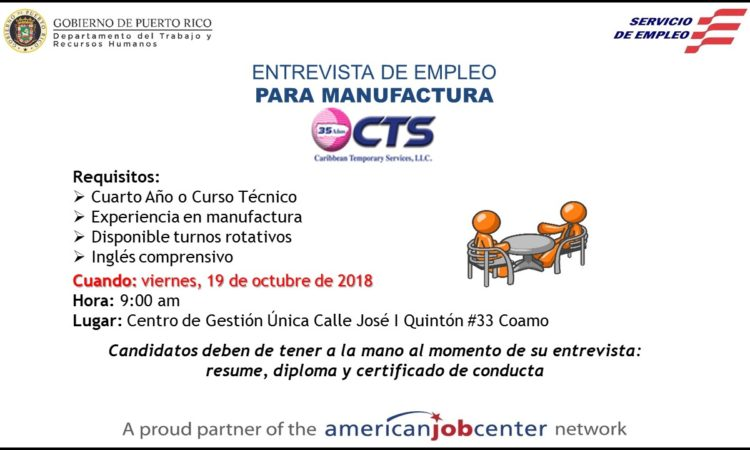 Entrevista de Empleo para Manufactura - 19 de octubre de 2018
