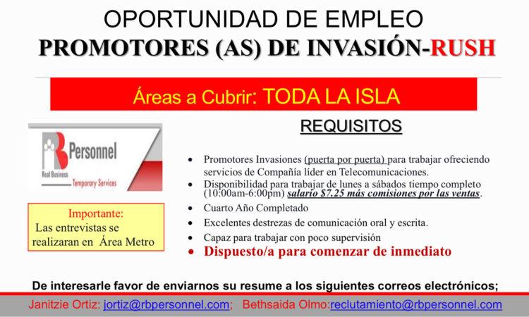 Oportunidad de Empleo, Promotores(as) de Invasión - RUSH