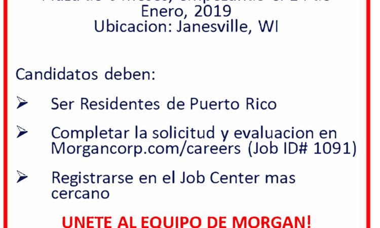 Morgan esta reclutando en Puerto Rico