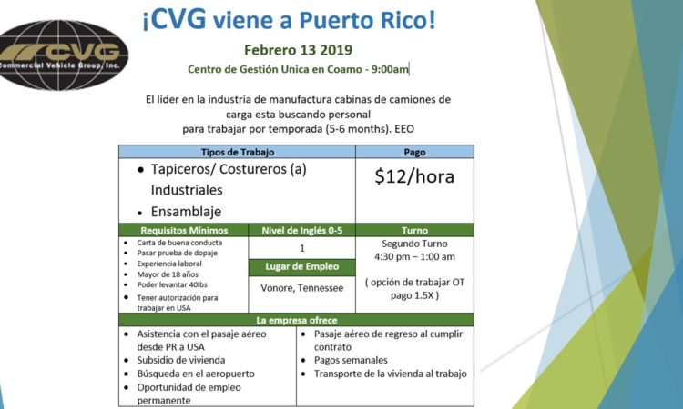 ¡CVG viene a Puerto Rico! 13 de febrero de 2019