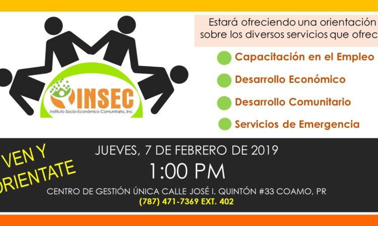 Orientación de Servicios de INSEC - Jueves, 7 de febrero de 2019