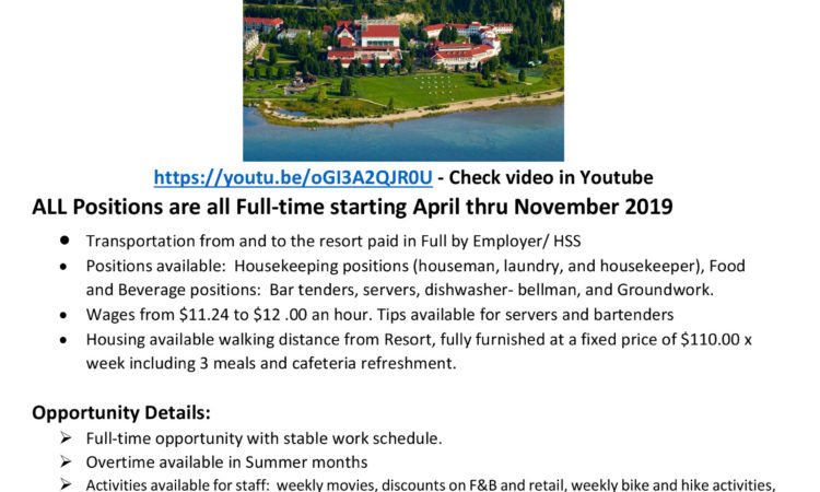HSS Hospitality Staffing Solutions,  Hiring for Seasonal Jobs in an Exclusive Resort in beautiful Mackinac Island Michigan