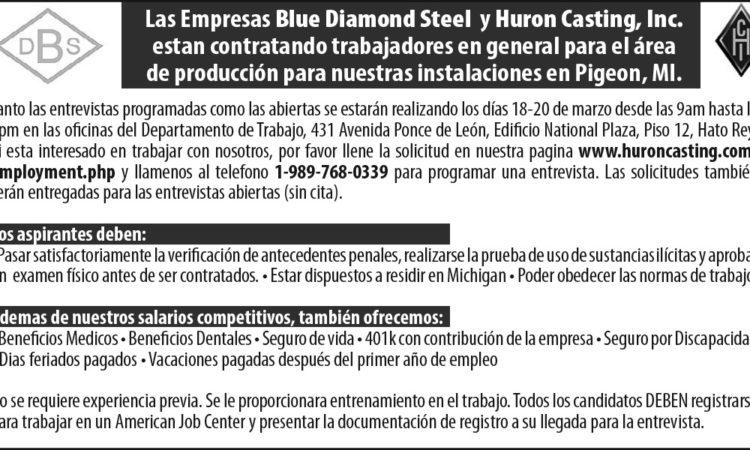 Empresas Blue Diamond y Hurons Casting, Inc.