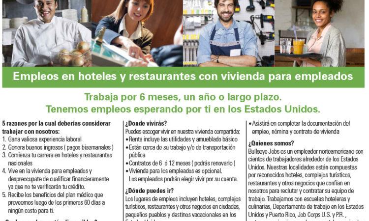 BullsEye Jobs - Empleos en hoteles y restaurantes con vivienda para empleados.