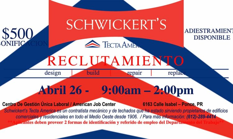Reclutamiento Schwickert's Tecta America - 26 de abril 2019