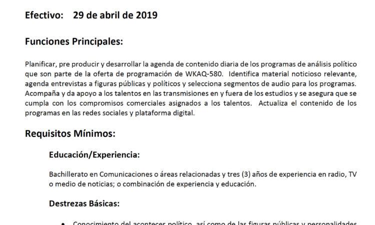 Univisión Puerto Rico: Coordinador(a) de Programas