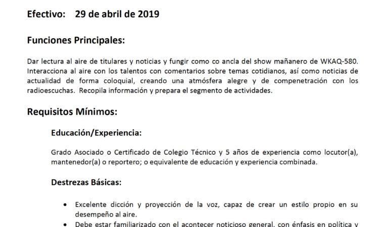 Univisión Puerto Rico: Locutor(a) - Tiempo Parcial