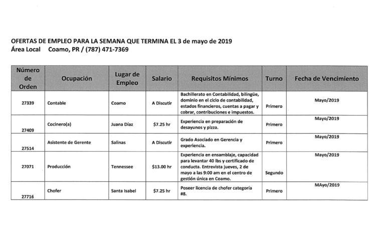 Empleos: Hasta el 3 de mayo de 2019