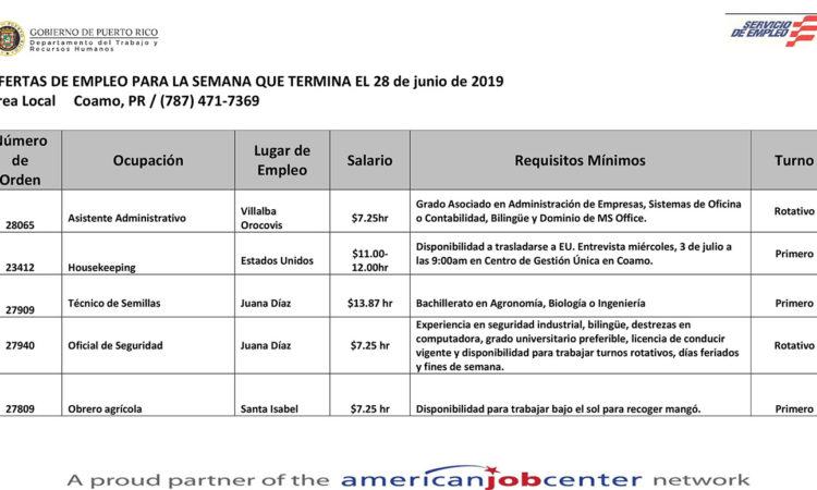 Empleos: Hasta el 28 de junio de 2019