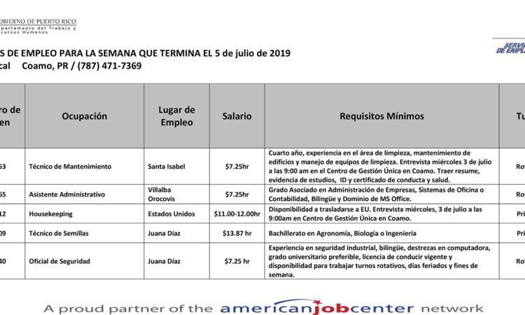 Empleos: Hasta el 5 de julio de 2019