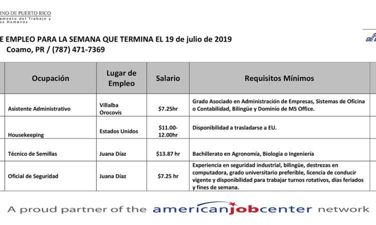 Empleos: Hasta el 19 de julio de 2019