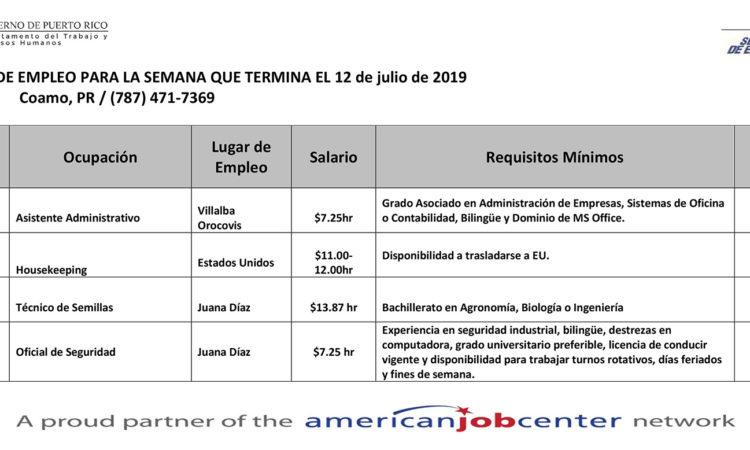Empleos: Hasta el 12 de julio de 2019