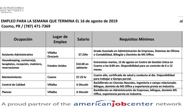 Empleos: Hasta el 16 de agosto de 2019