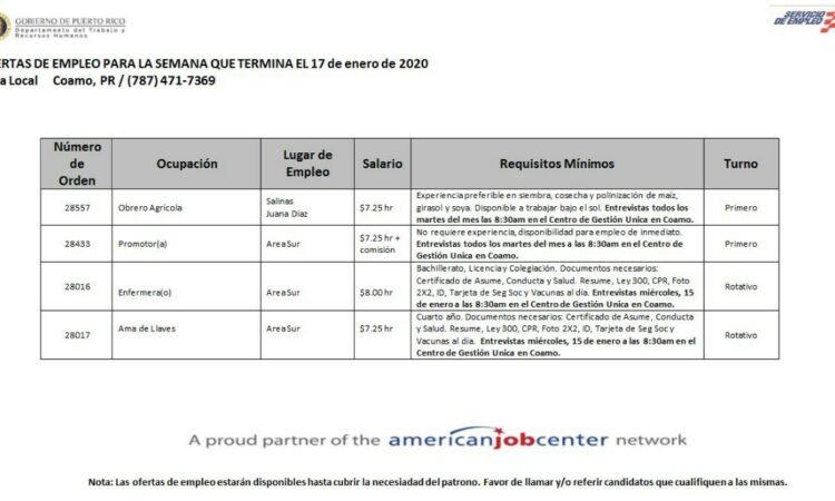 Empleos: Hasta el 17 de enero 2020