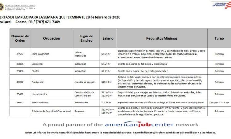 Empleos: Hasta 28 de febrero 2020