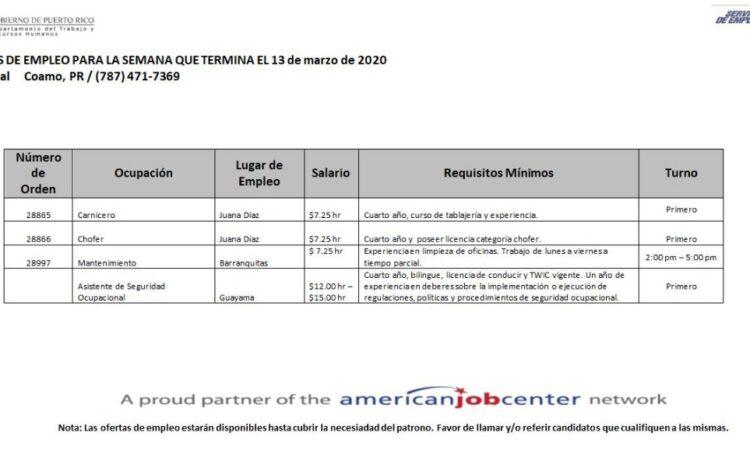 Empleos: Hasta 13 de marzo 2020