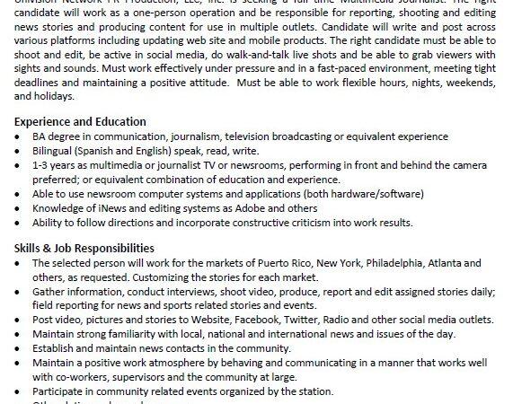 Multimedia Journalist Univisión Communication Inc.