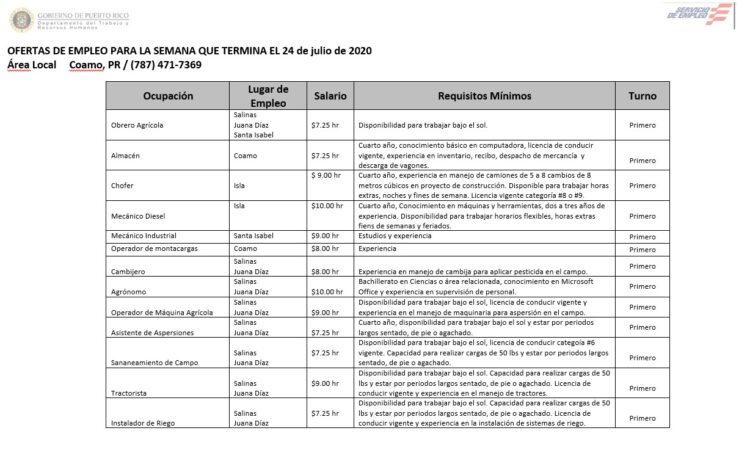 Empleos: Hasta 24 de julio de 2020