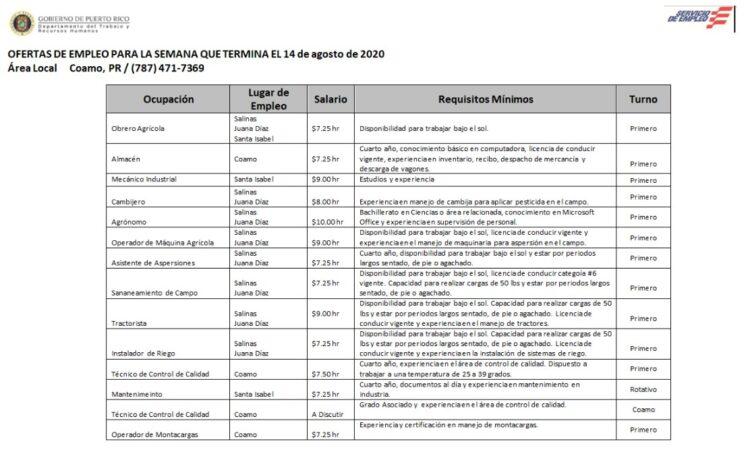 Empleos: Hasta 14 agosto de 2020