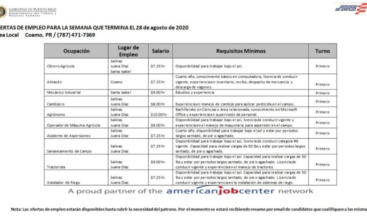 Empleos: Hasta 28 agosto 2020