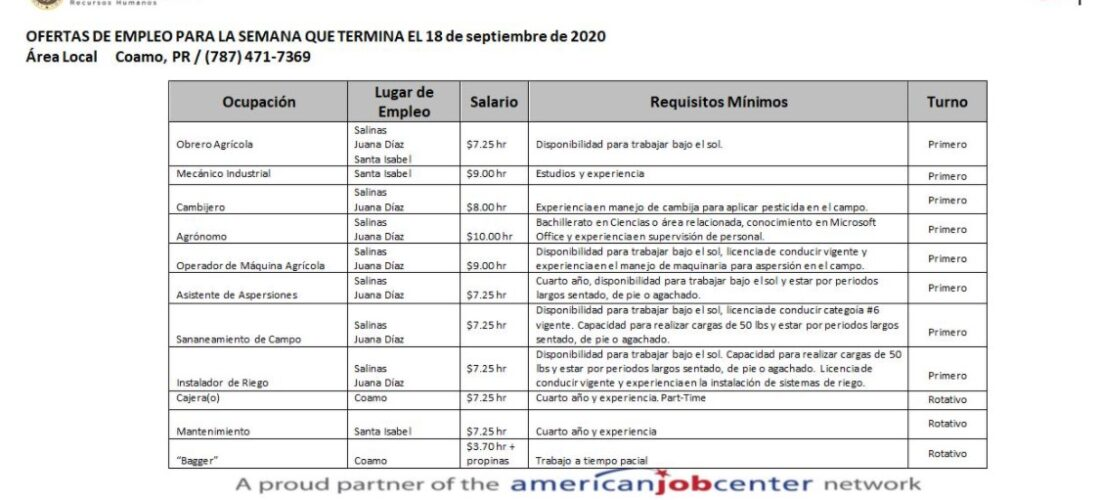 Empleos: Hasta 18 septiembre 2020
