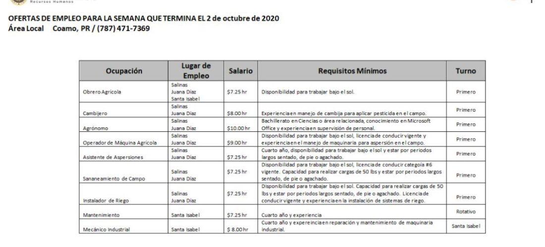 Empleos: Hasta 2 de octubre 2020