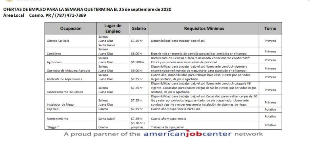 Empleos: Hasta 25 sept. 2020