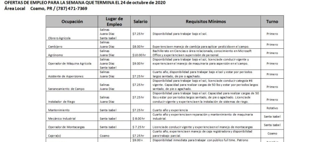 Empleos : Hasta 24 de octubre  2020