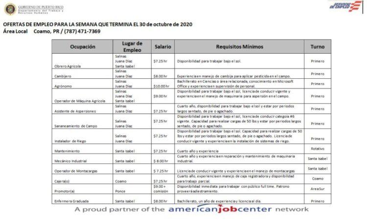 Empleos: Hasta 30 de octubre de 2020