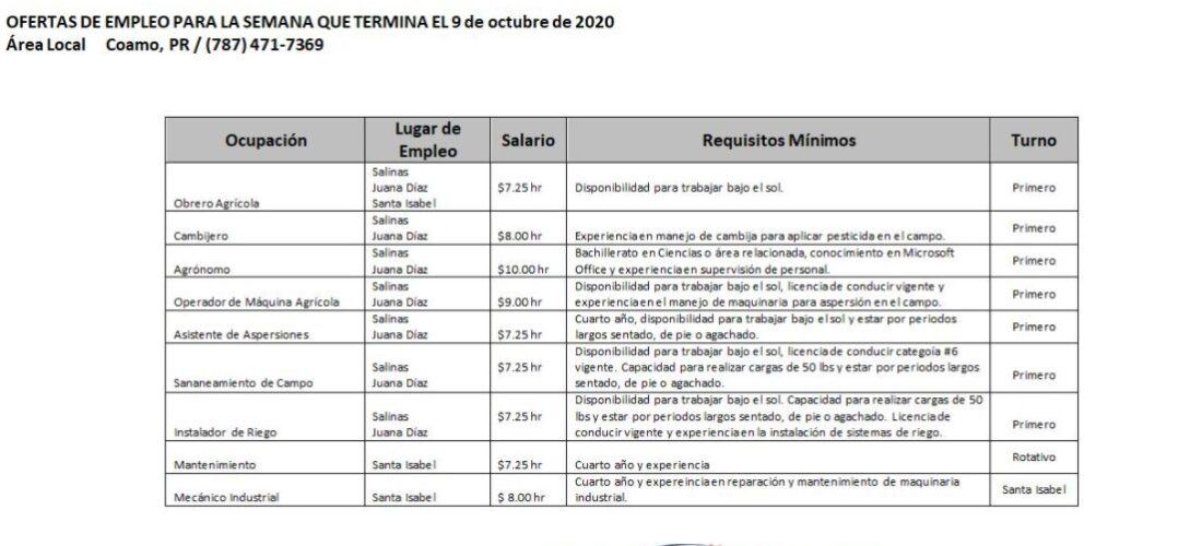 Empleos: Hasta 9 de octubre 2020
