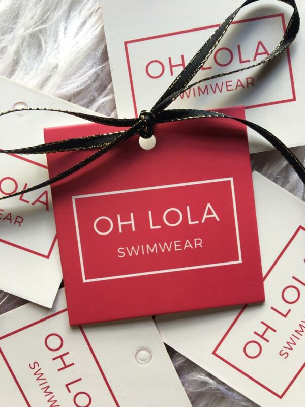 About us OH LOLA SWIMWEAR HANG TAGS