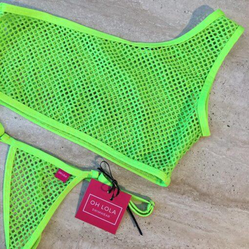 Temptation Micro Bikini-Neon Green/One Sleeve By OH LOLA SWIMWEAR
