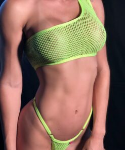 TEMPTATION MICRO BIKINI NEON GREEN/ ONE SLEEVE BY OH LOLA SWIMWEAR
