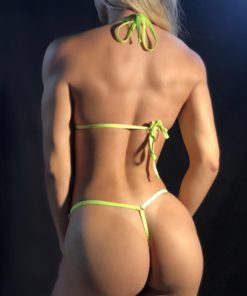 TEMPTATION / Neon Green MICRO BIKINI BY OH LOLA SWIMWEAR - BACK