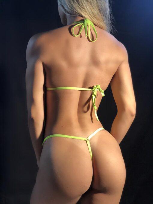 TEMPTATION / Neon Green MICRO BIKINI BY OH LOLA SWIMWEAR - BACK