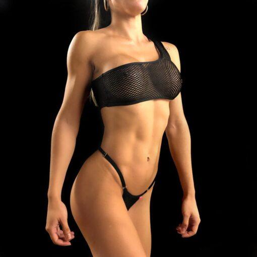 Temptation One Sleeve Black Micro Bikini By OH LOLA SWIMWEAR