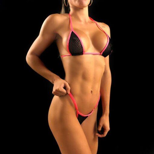 Temptation Mesh Micro Bikini - Pink/Black