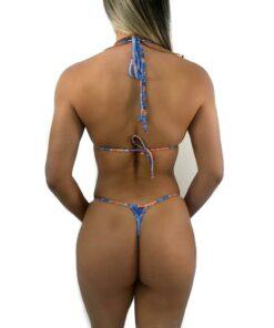 Blue Lagoon Micro Bikini By OH LOLA SWIMWEAR - Back