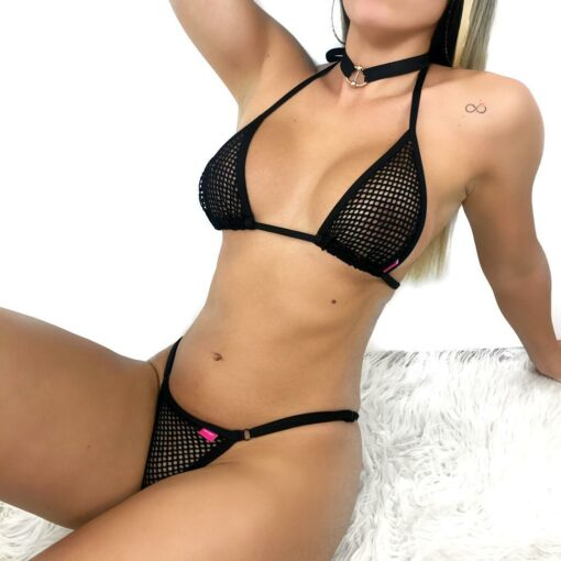 Temptation All Black Micro Bikini By OH LOLA SWIMWEAR