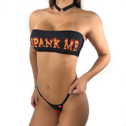 Spank me Bandeau Micro Bikini by OH LOLA SWIMWEAR