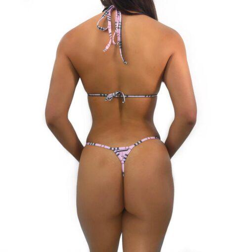 Plaid Dream Micro Bikini (Pink) by OH LOLA SWIMWEAR - Back