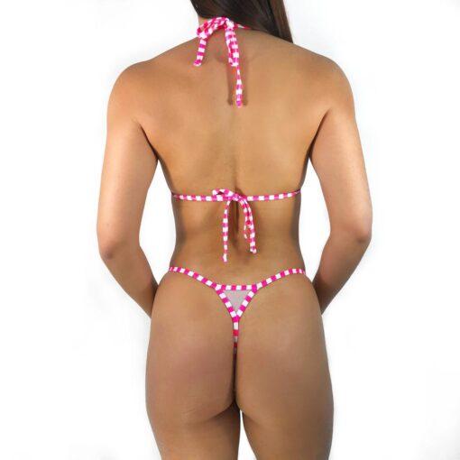 Pink Trouble Micro Bikini by OH LOLA SWIMWEAR - Side Adjustable V-String