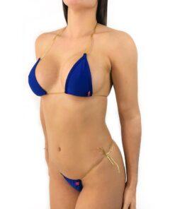 Navy String Micro Bikini by OH LOLA SWIMWEAR