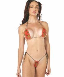 Orange Bud String Micro Bikini by OH LOLA SWIMWEAR
