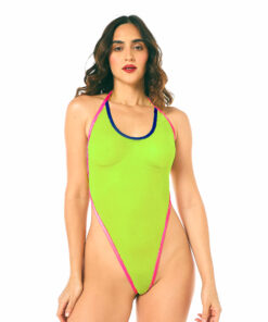 Neon Vibes One-Piece Swimsuit by OH LOLA SWIMWEAR