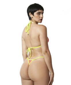 Temptation Micro Bikini Pink/Yellow by OH LOLA SWIMWEAR - Rear view
