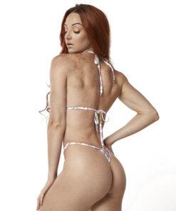 Sexy Blossom Micro Bikini by OH LOLA SWIMWEAR - Side Adjustable V-String Bottom