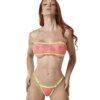 Temptation Bandeau Bikini Pink/Yellow by OH LOLA SWIMWEAR